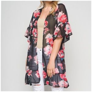 Sweaters - Open Front Chiffon Cardigan/Swim Cover-Up